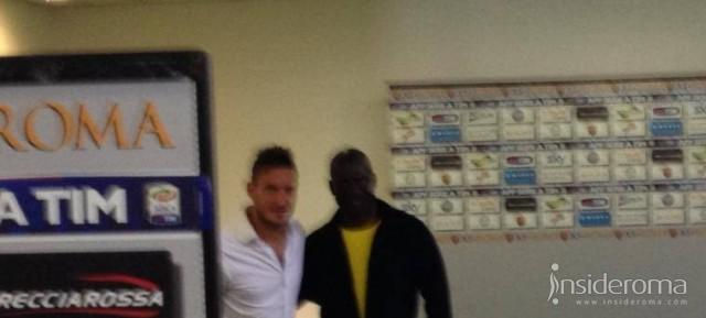 Totti incontra Ben Johnson in mixed zone